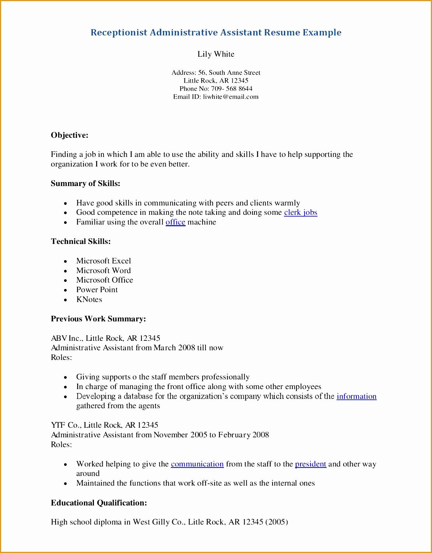 Resume help receptionist Sample Cv For Receptionist