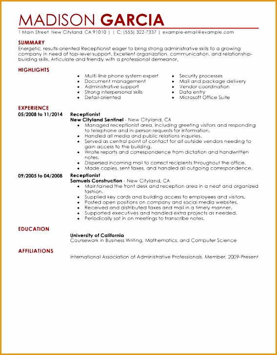 receptionist administration and office support