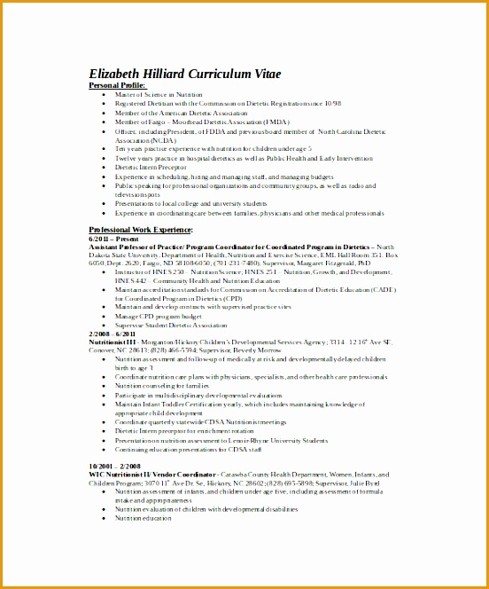 Registered Dietitian Resume