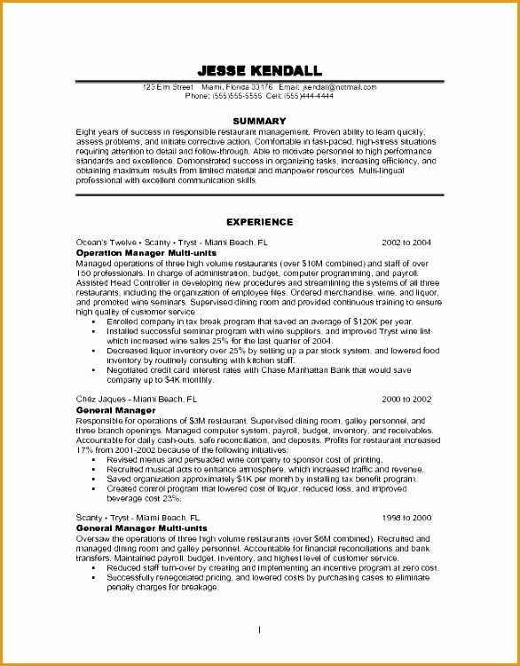 Manager Resume Example Free Restaurant Management Resume750586