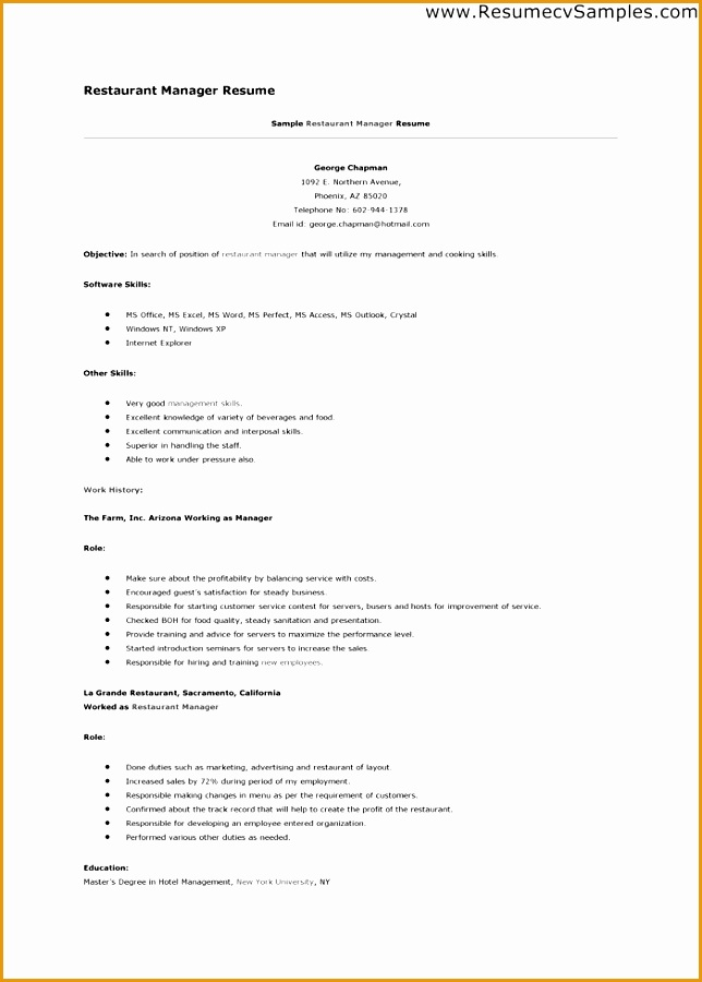 Resume Template Restaurant Manager Make Sure About Profitabillity