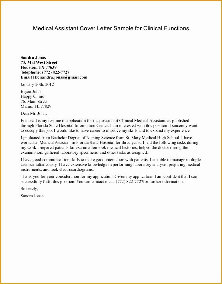 sample medical assistant internship coverletter Ricole blog for Cover Letter Medical Assistant