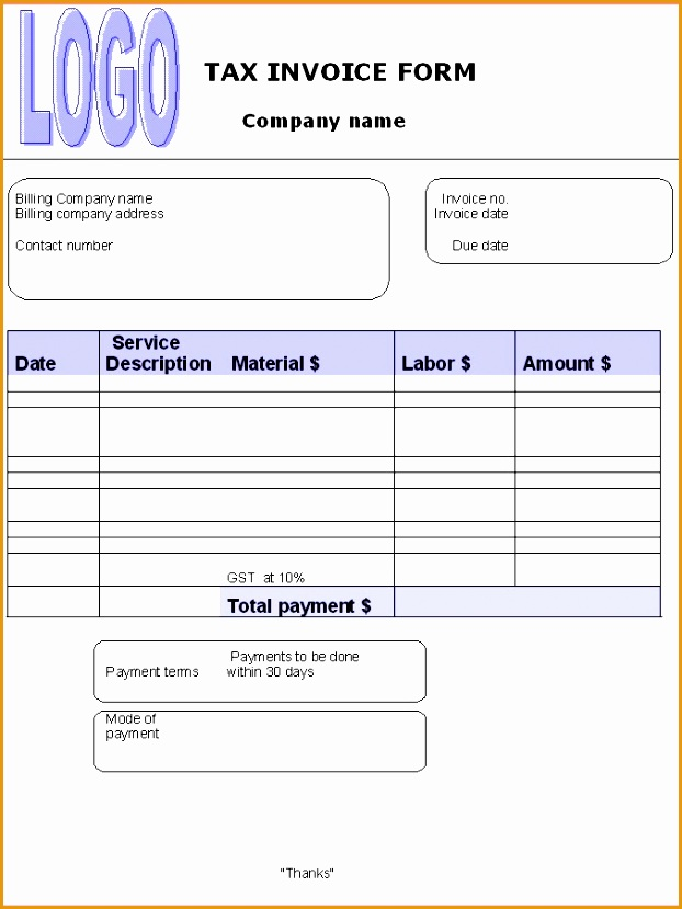 tax invoice template microsoft word829622