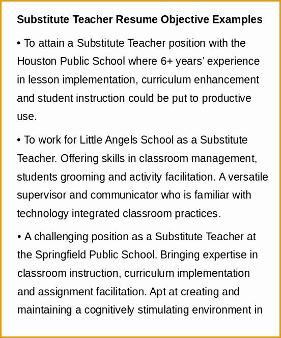 Substitute Teacher Resume Example664552