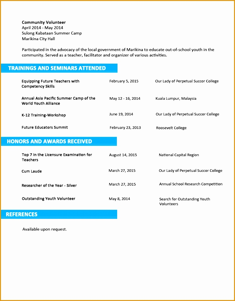 Sample Resume Format for Fresh Graduates Two Page Format 3 2