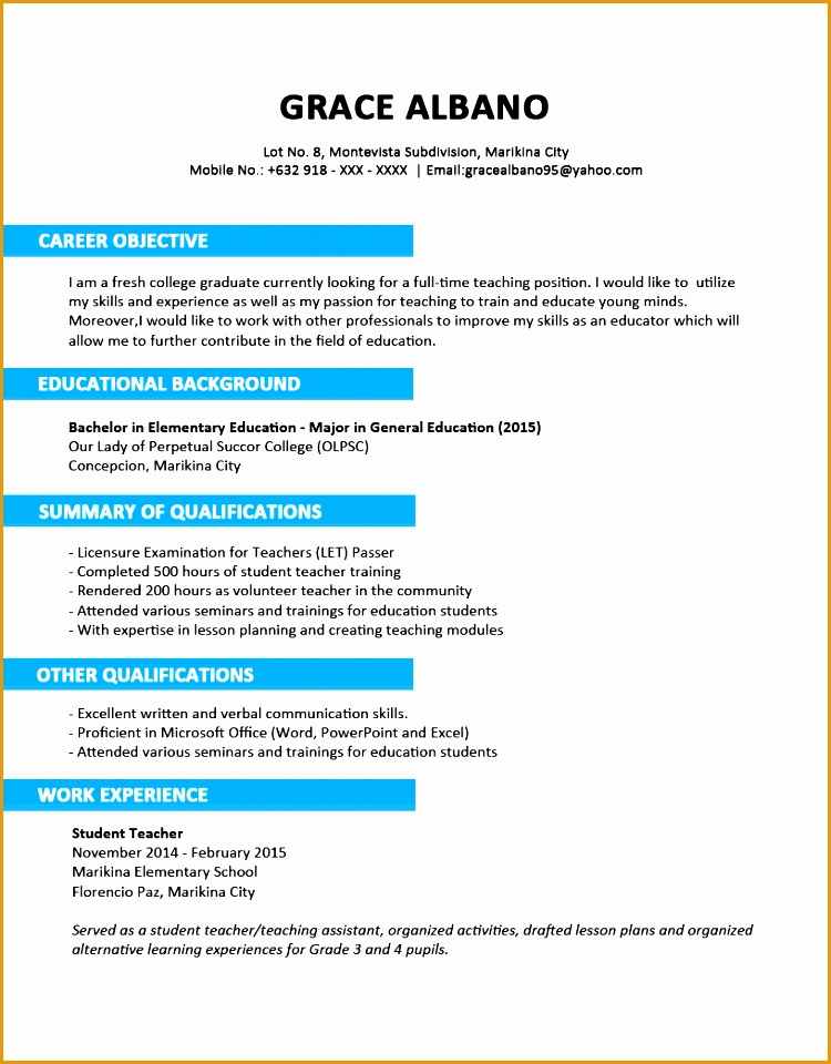 Sample Resume Format for Fresh Graduates Two Page Format 3 1