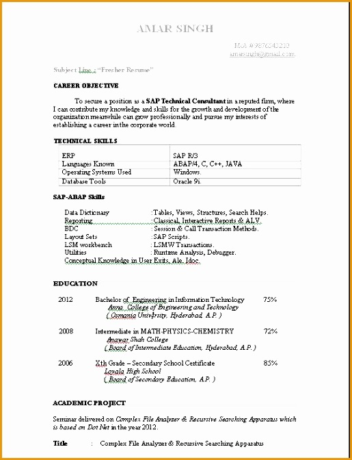 ABAP Fresher Resume Sample JPG