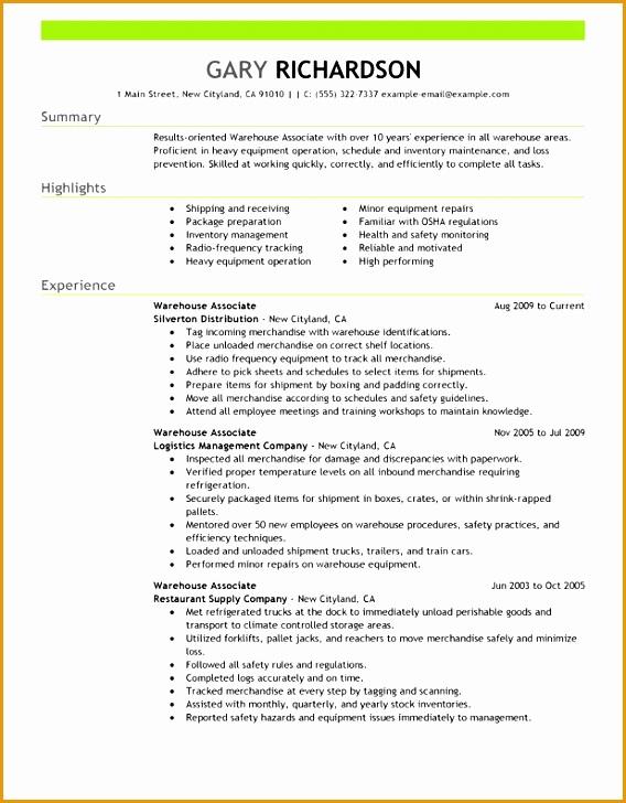 6 resume sample warehouse worker