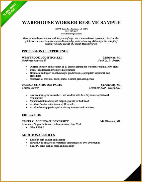 6 Resume Sample Warehouse Worker Free Samples Examples