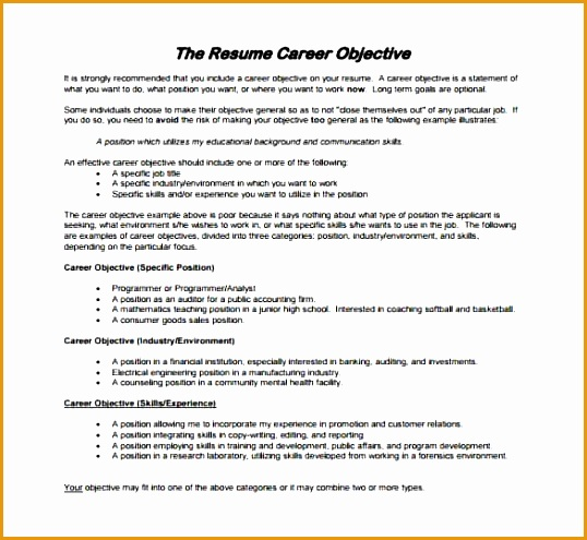 Fresher Resume for Career Objective PDF Download min1495538