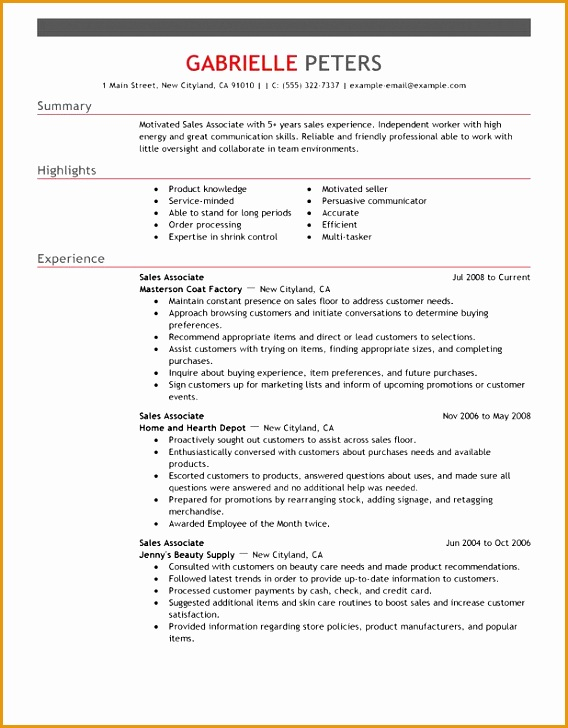 5 Sales Associate Resume Example Free Samples Examples
