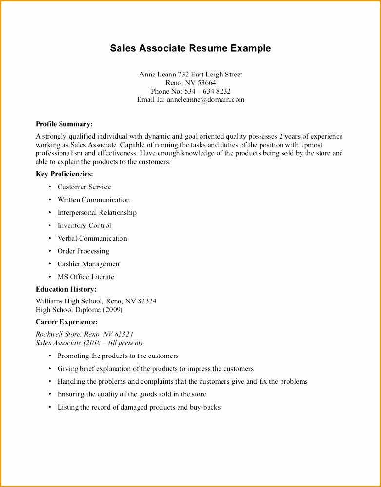Good Cv Retail Associate Resume Template Whetink Co