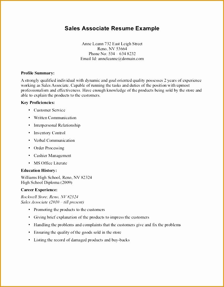Good Cv Retail Associate Resume Template Whetink Co