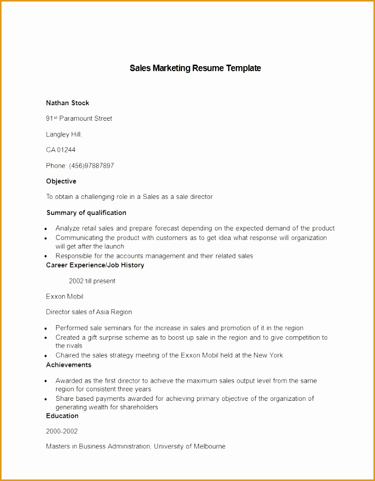 Sales marketing resume sample960750