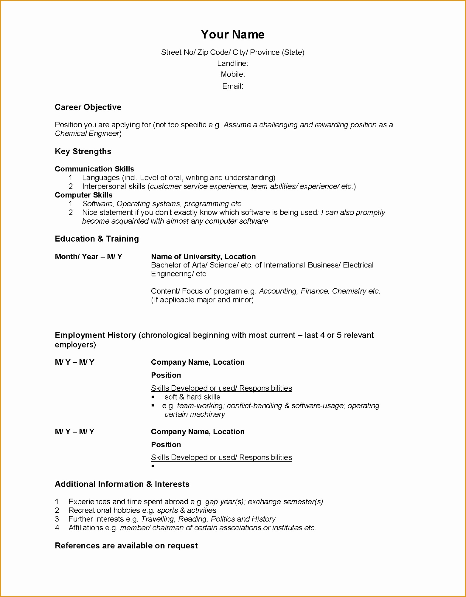 Cv Template Word Canada Sample Cv Latest Format Sample Customer Service Resume Custom Paper Writing Service20021564