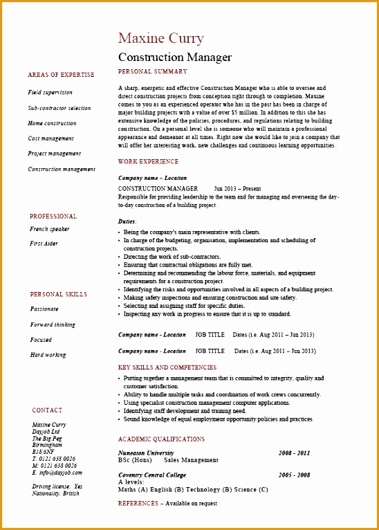 Samples Enjoyable Inspiration Construction Manager Resume 8 Construction CV Template Building Industry References766548