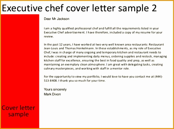 8 Sample Executive Chef Cover Letter