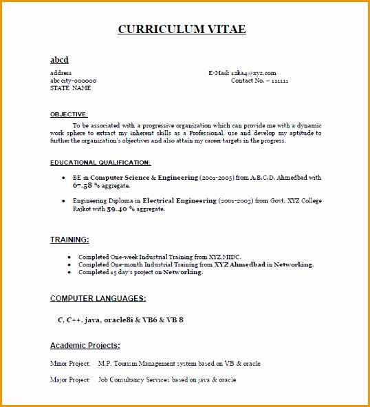 Freshers Resume Sample PDF591538