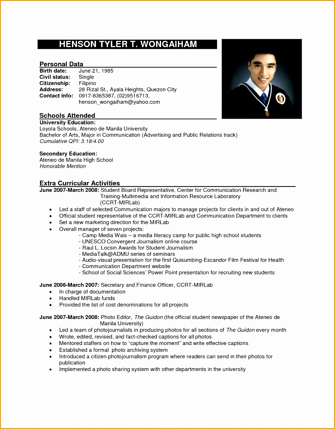 resume sample formal resume15011173