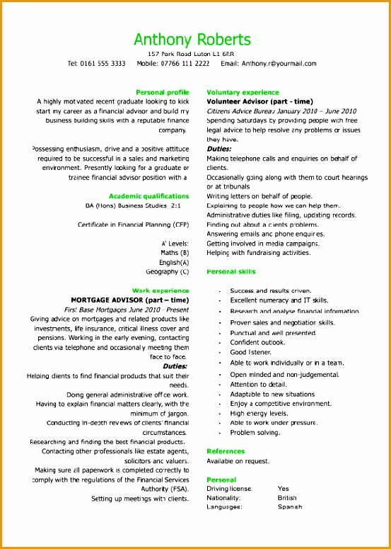 graduate financial advisor CV775553
