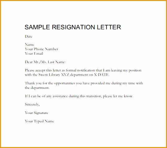 Downloadable Formal Resignation Letter