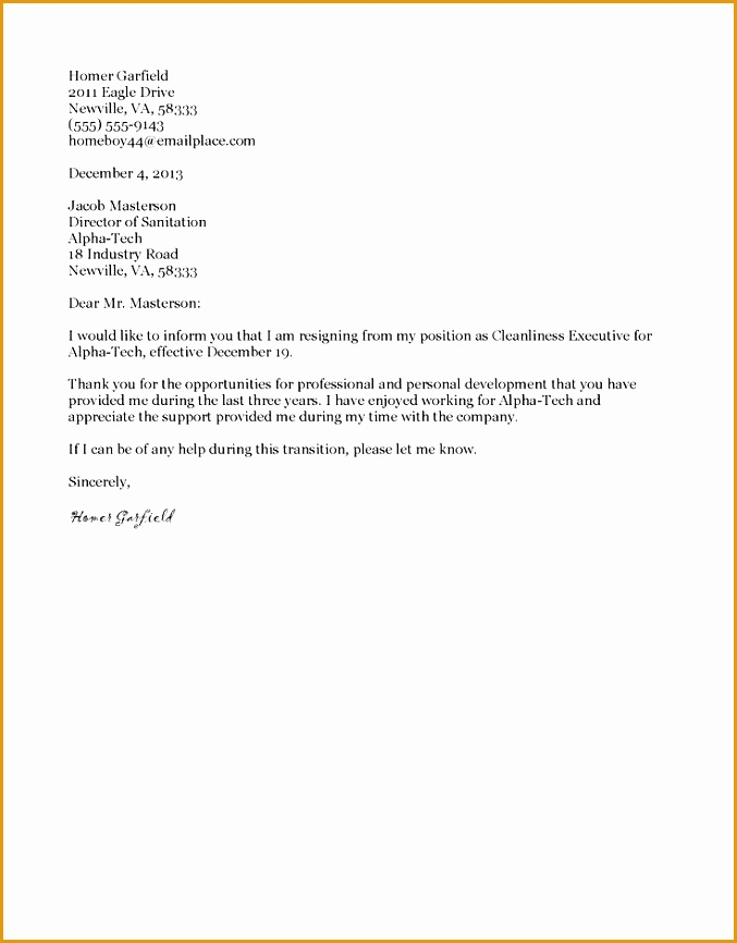 9 Sample Formal Letter Of Resignation