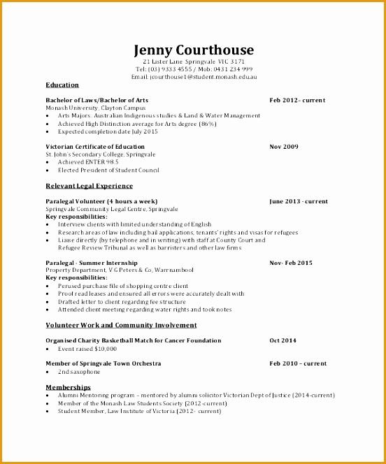 Law Internship Curriculum Vitae664552