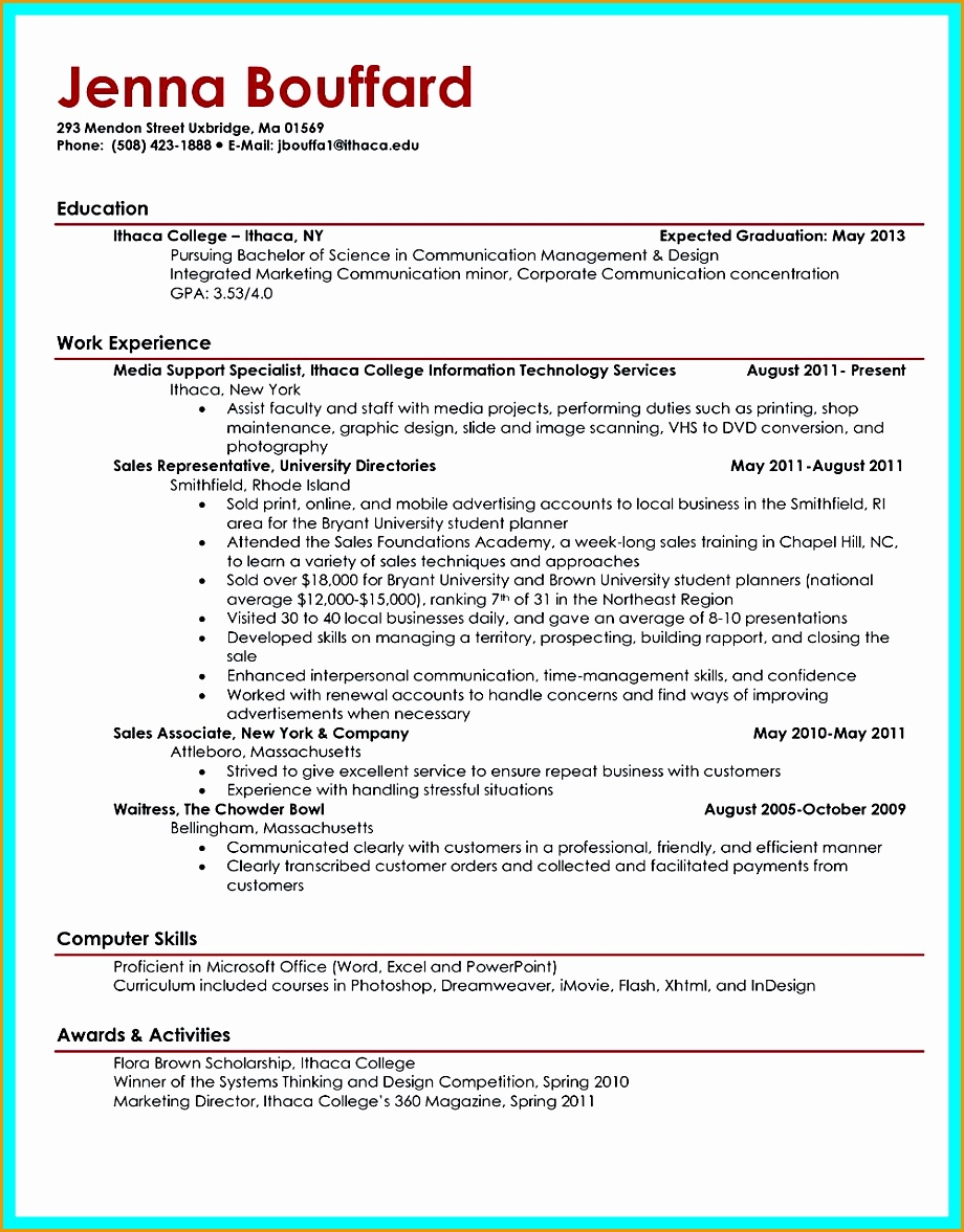 5 sample resume for fresh college graduate