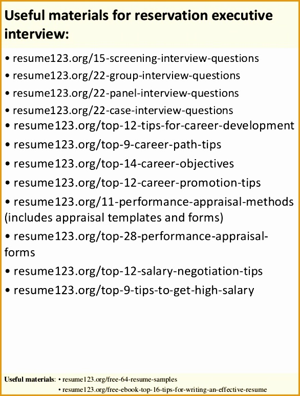 Top 8 Reservation Executive Resume Samples774586