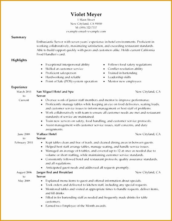 pleasing server resume template free interesting