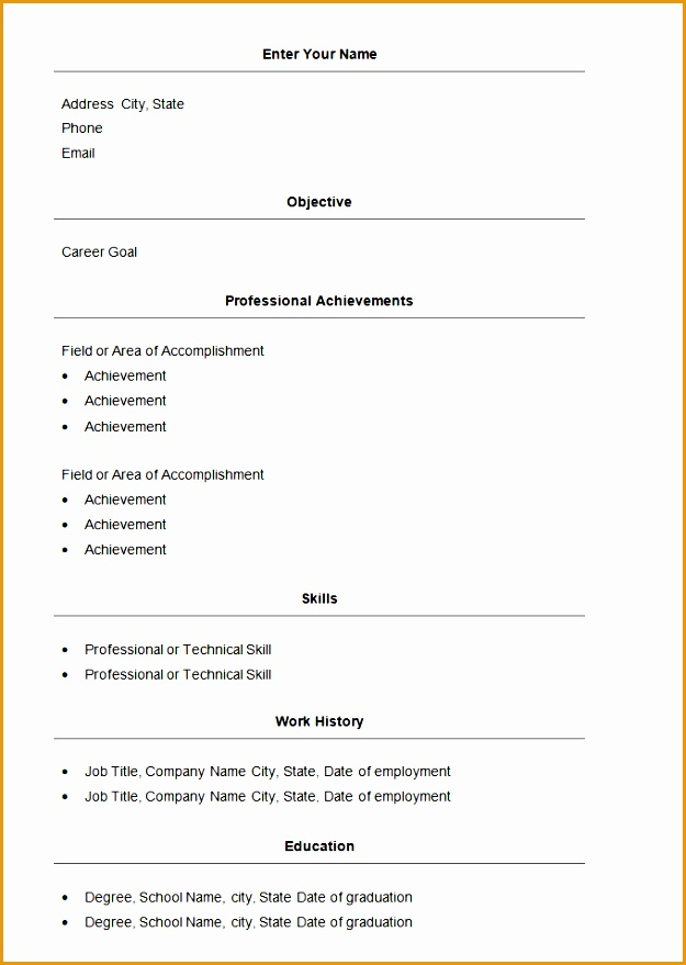 Basic Resume Template Word