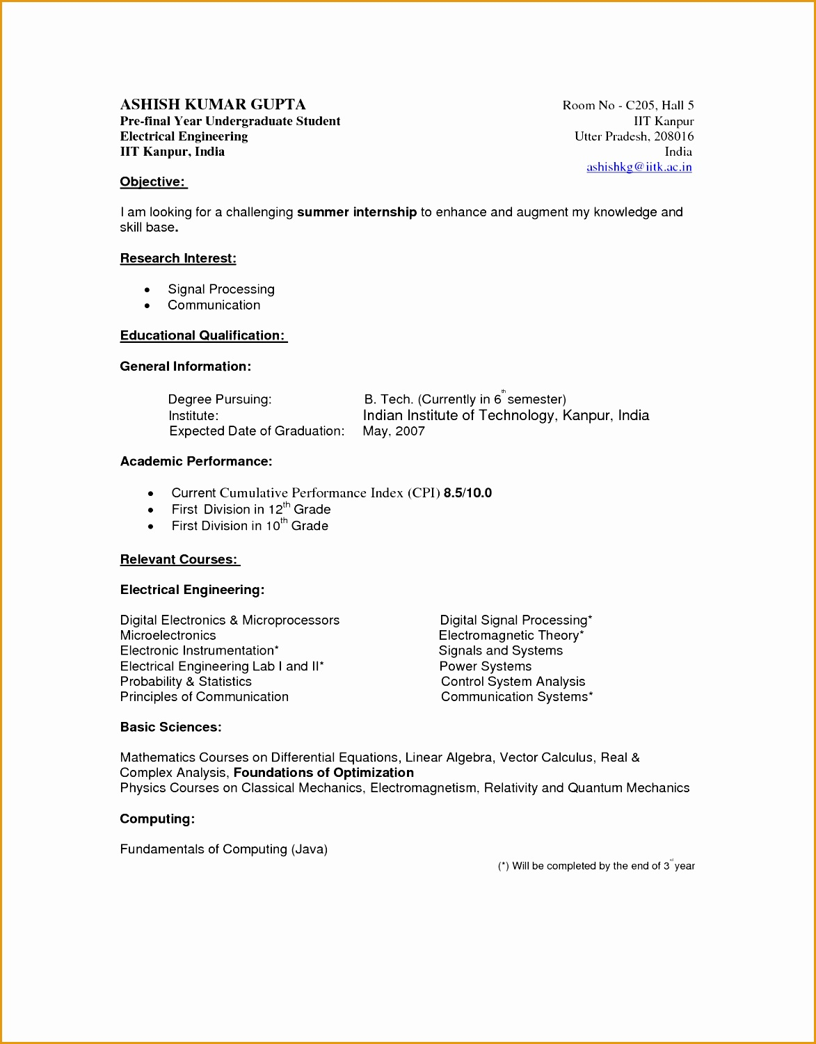 Undergraduate Student Cv Example Template within Student Curriculum Vitae Template15011173