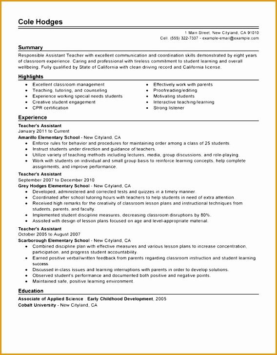 teaching assistant resume sample unforgettable assistant teacher