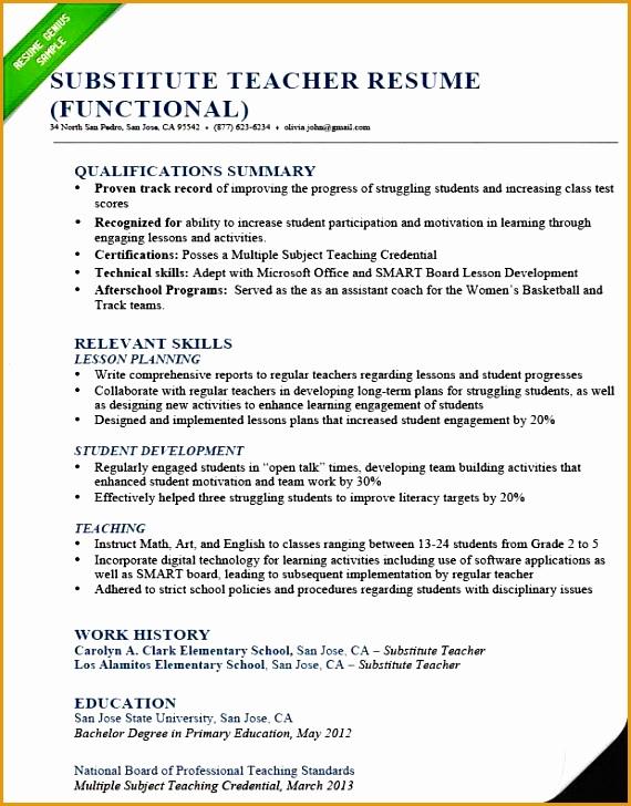 Substitute teacher resume sample functional