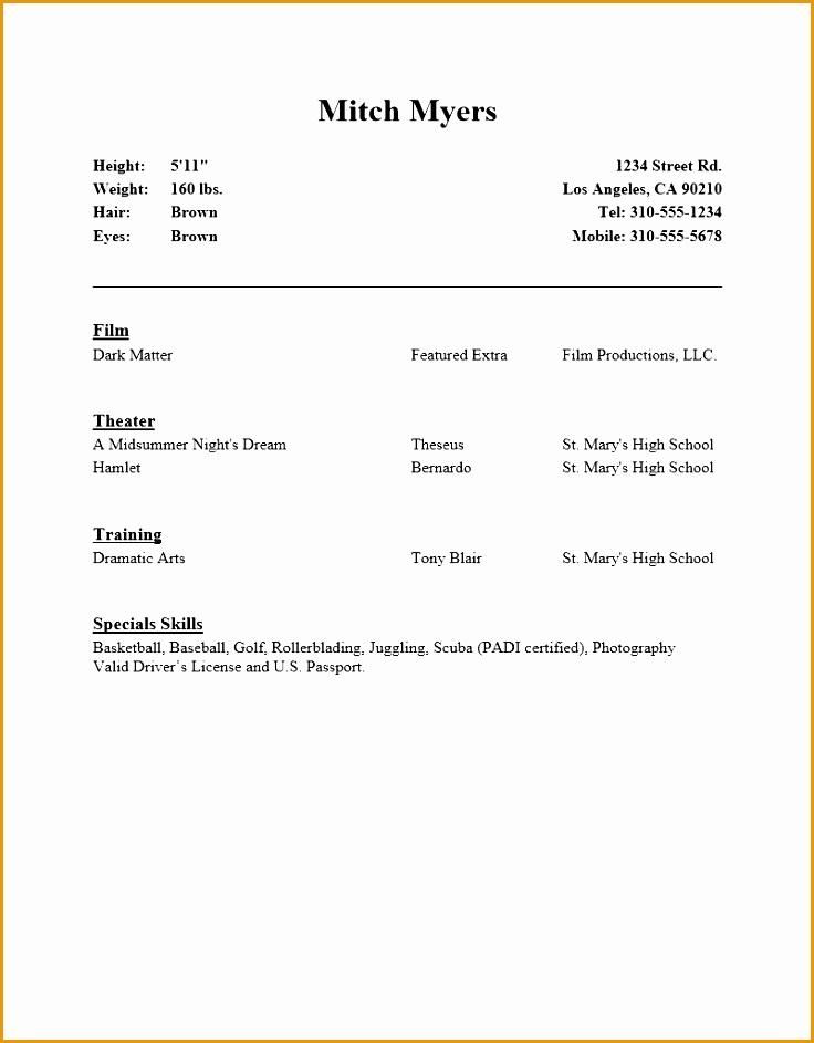 beginner act resume