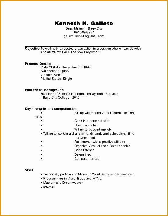Undergraduate Student CV