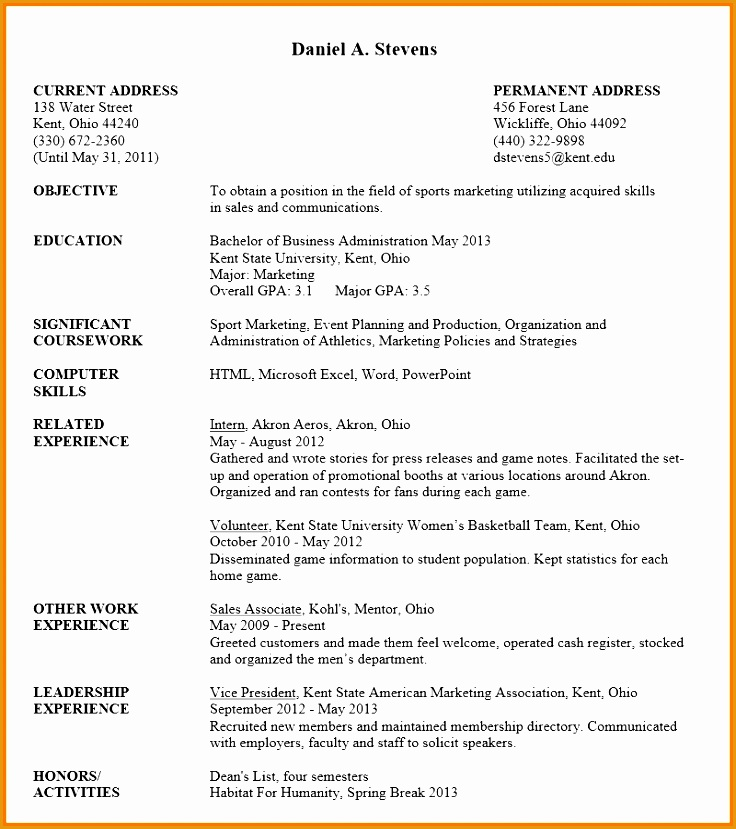 Best Ideas of Sample Resume For Undergraduate Students For Example