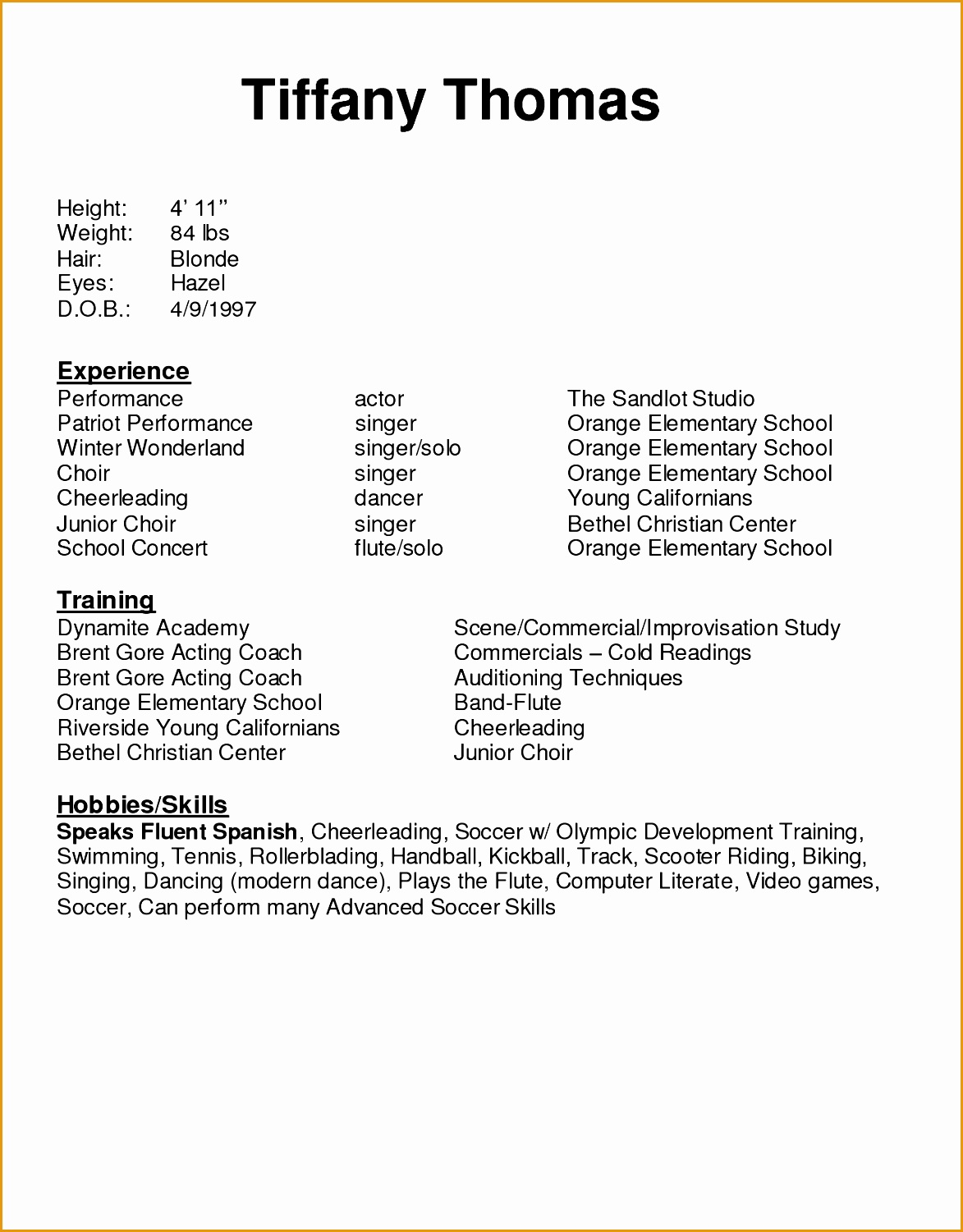 nothing found for acting resume sample no experience acting resume format15011173