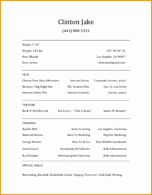 29 actor sample resume template645504