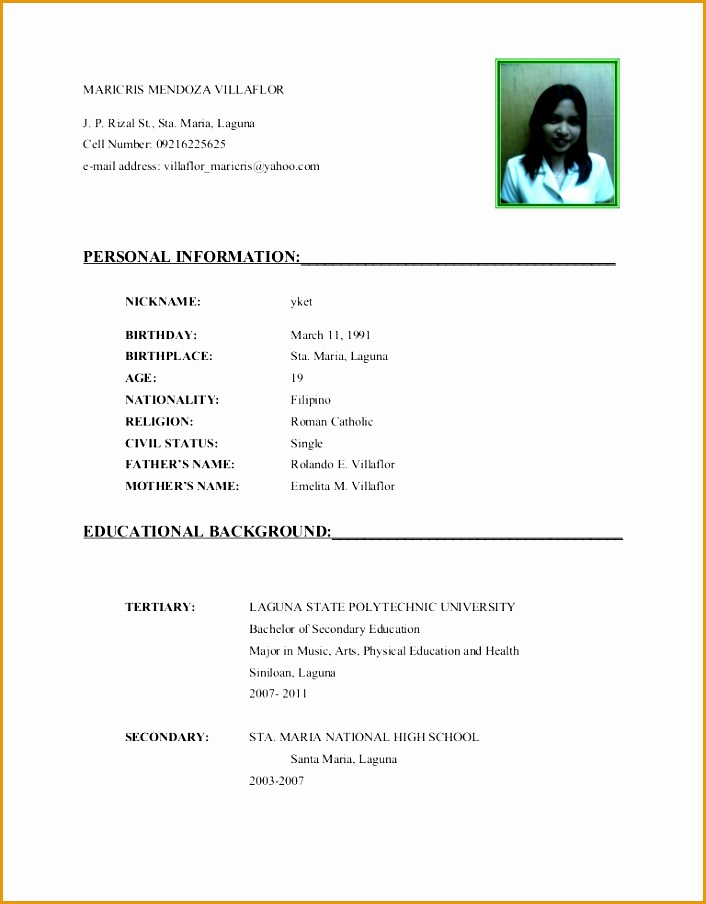 simple clear layout curriculum vitae template with images904706