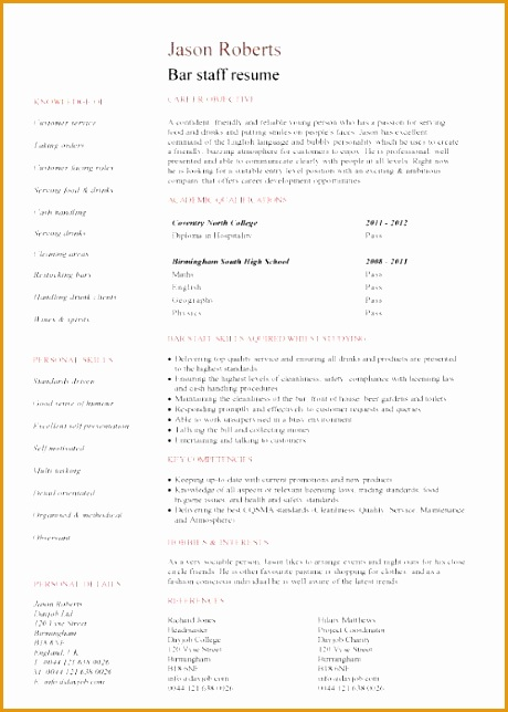 bar staff cv sample 440644460