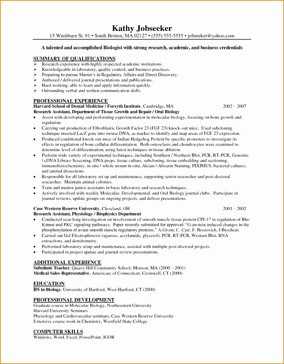sample resume summary of qualifications15011173