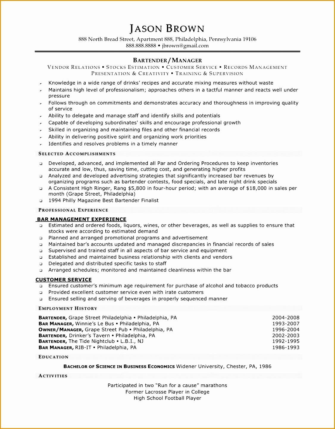 bartender resume skills template14411126