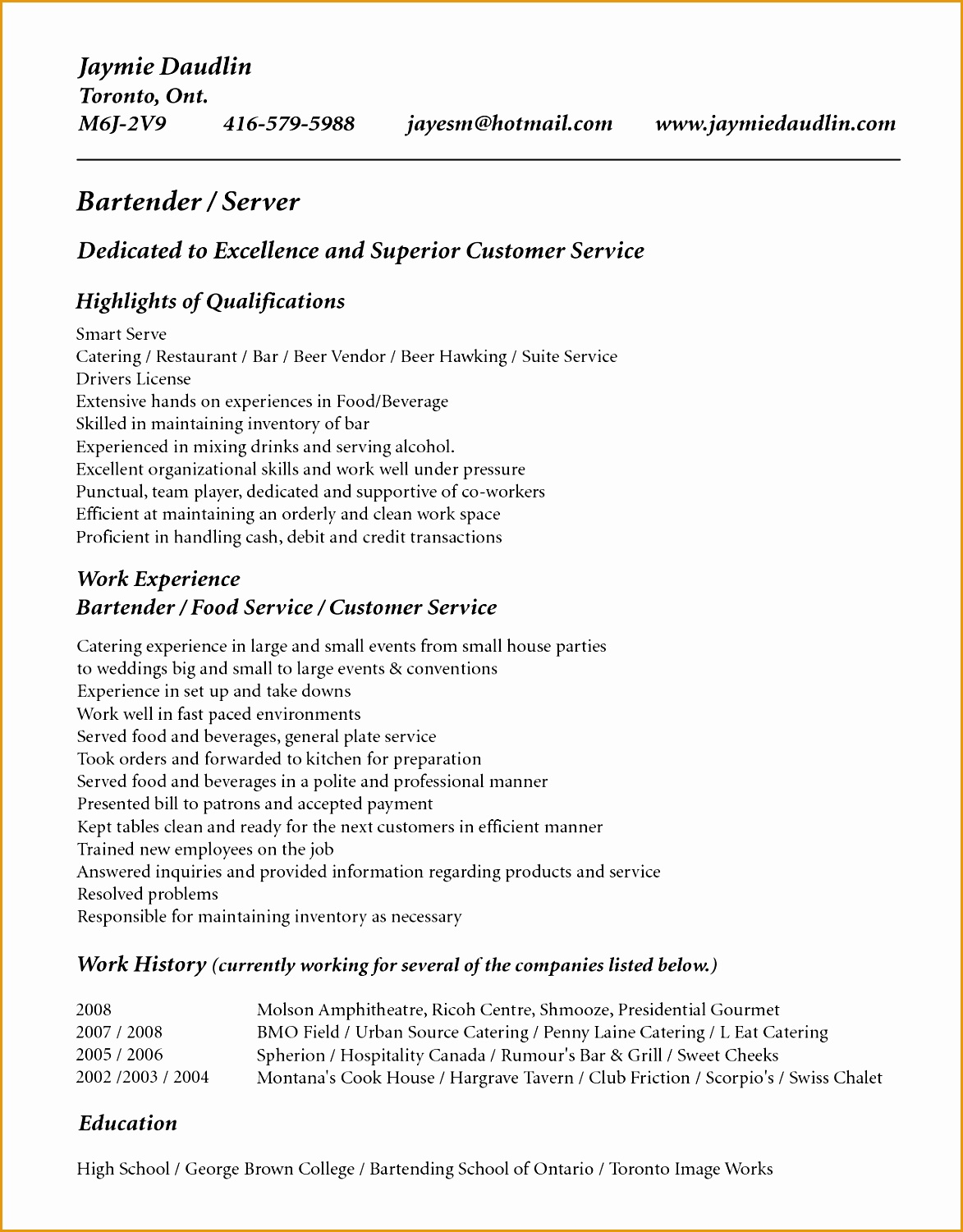 resume template for bartender no experience15011173