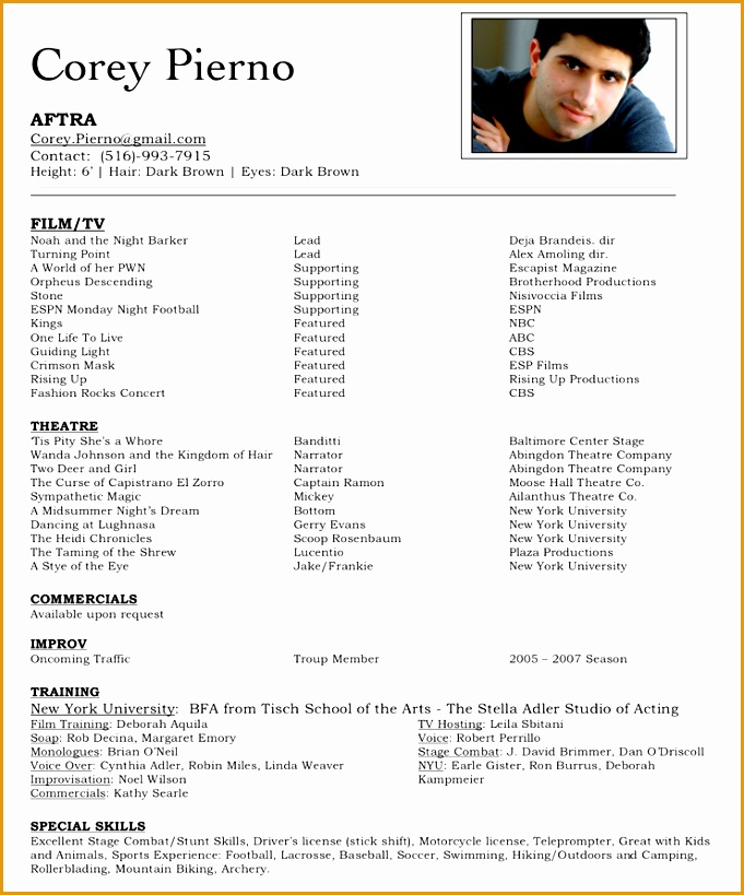 6 Beginning Actor Resume Sample - Free Samples , Examples & Format ...