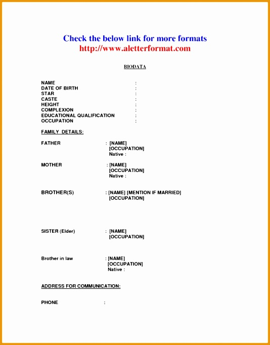 biodata format for marriage in word format free682534