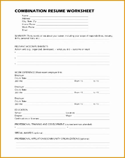 printable resume worksheet553439