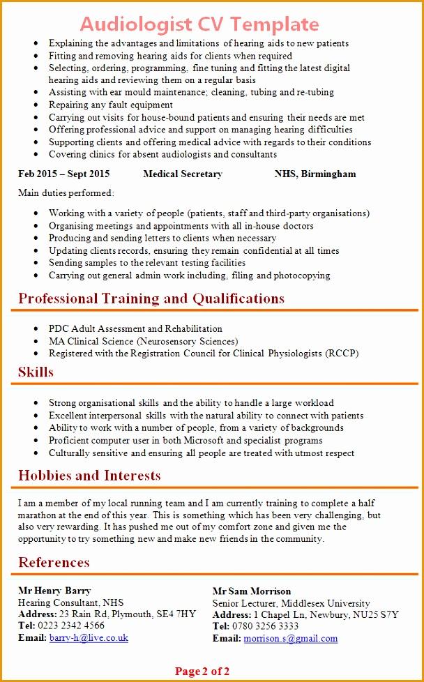 audiologist cv template978608