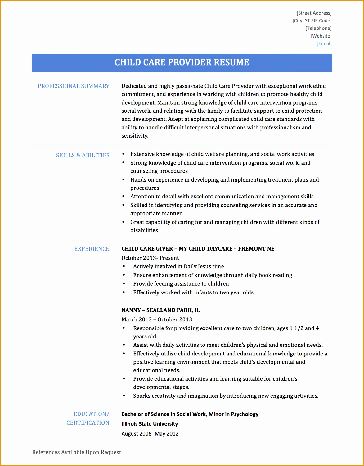 6 child care resume sample