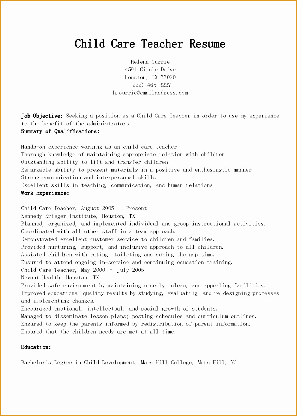 child care teacher resume sample14561040
